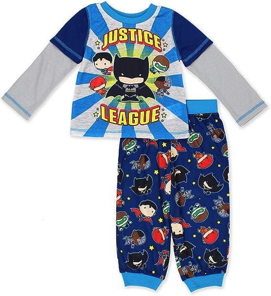 Justice League Toddler Boys 4-Piece Snug Fit Pajama Set Size 2T 3T 4T