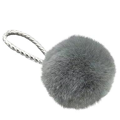 24e6aaab0d Amazon.com  Fashion Key Ring Cute Charm With Rabbit Fur Ball Pom Pom ...