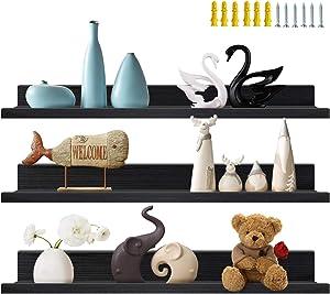 36 Inch Black Floating Wall Ledge Shelves Set of 3, Photo Picture Ledge Shelf for Office, Bedroom, Living Room, Kitchen