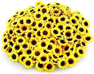 Auihiay 240 Pieces Artificial Sunflower Heads 1.8 inch Silk Sunflowers Decorations for Home Baby Shower Wedding Decorations Bridal Bouquet