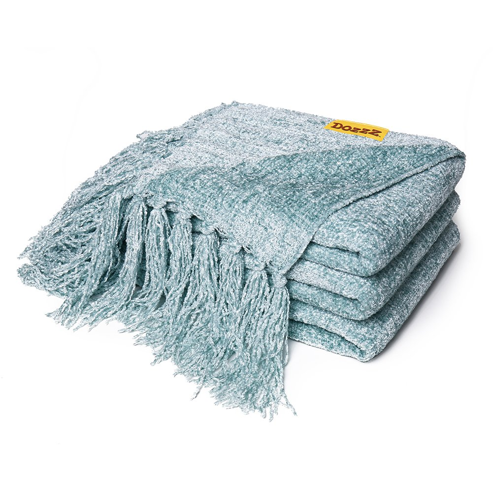 DOZZZ Fluffy Chenille Knitted Throw Blanket