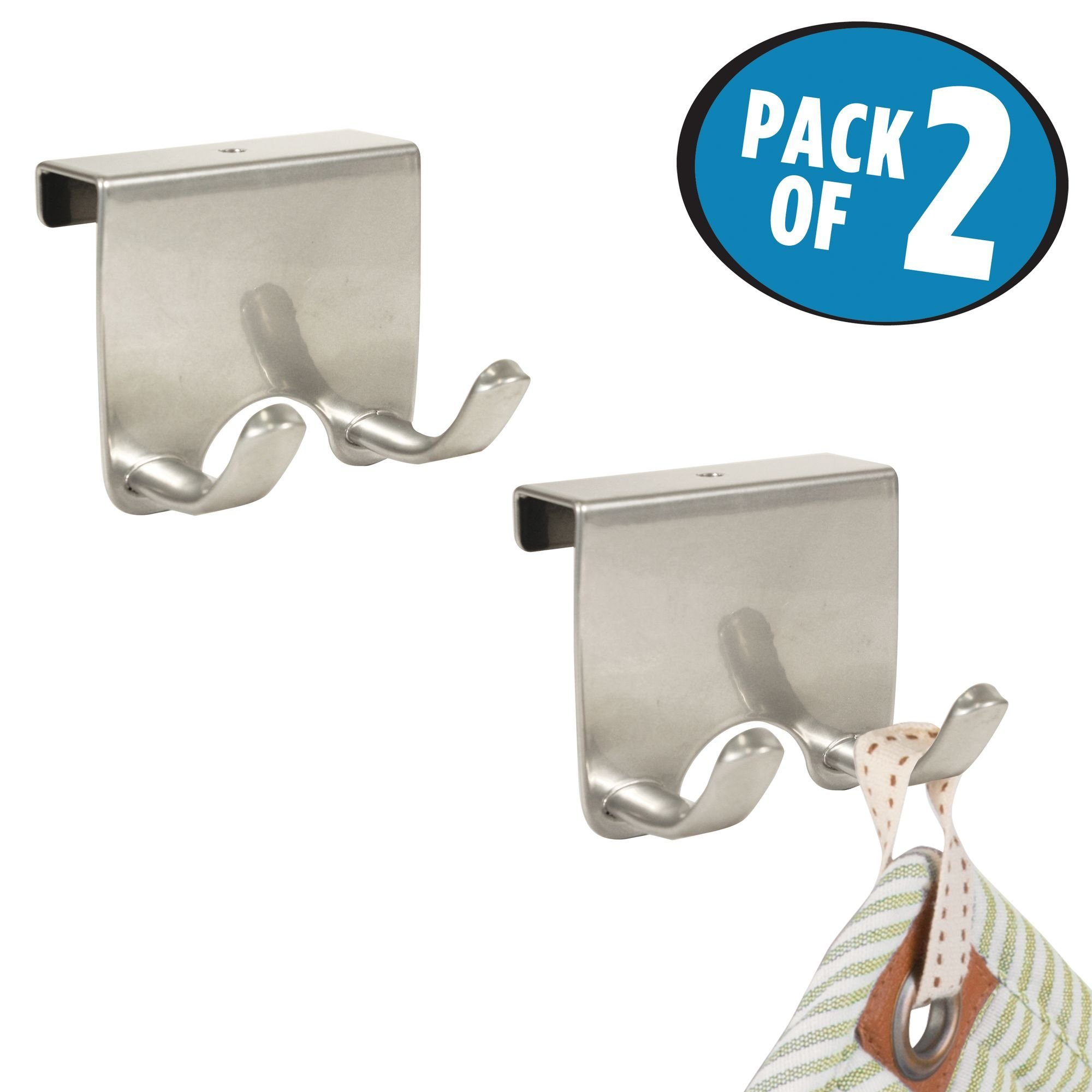 mDesign Over-the-Cabinet Kitchen Storage Hooks for Dish Towels or Pot Holders - Pack of 2, Silver
