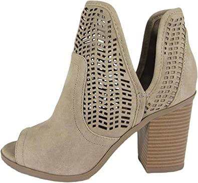 Women Western Boots Perforated Laser Cut Out Open Peep Toe Caged Stacked Low Heel Ankle Bootie