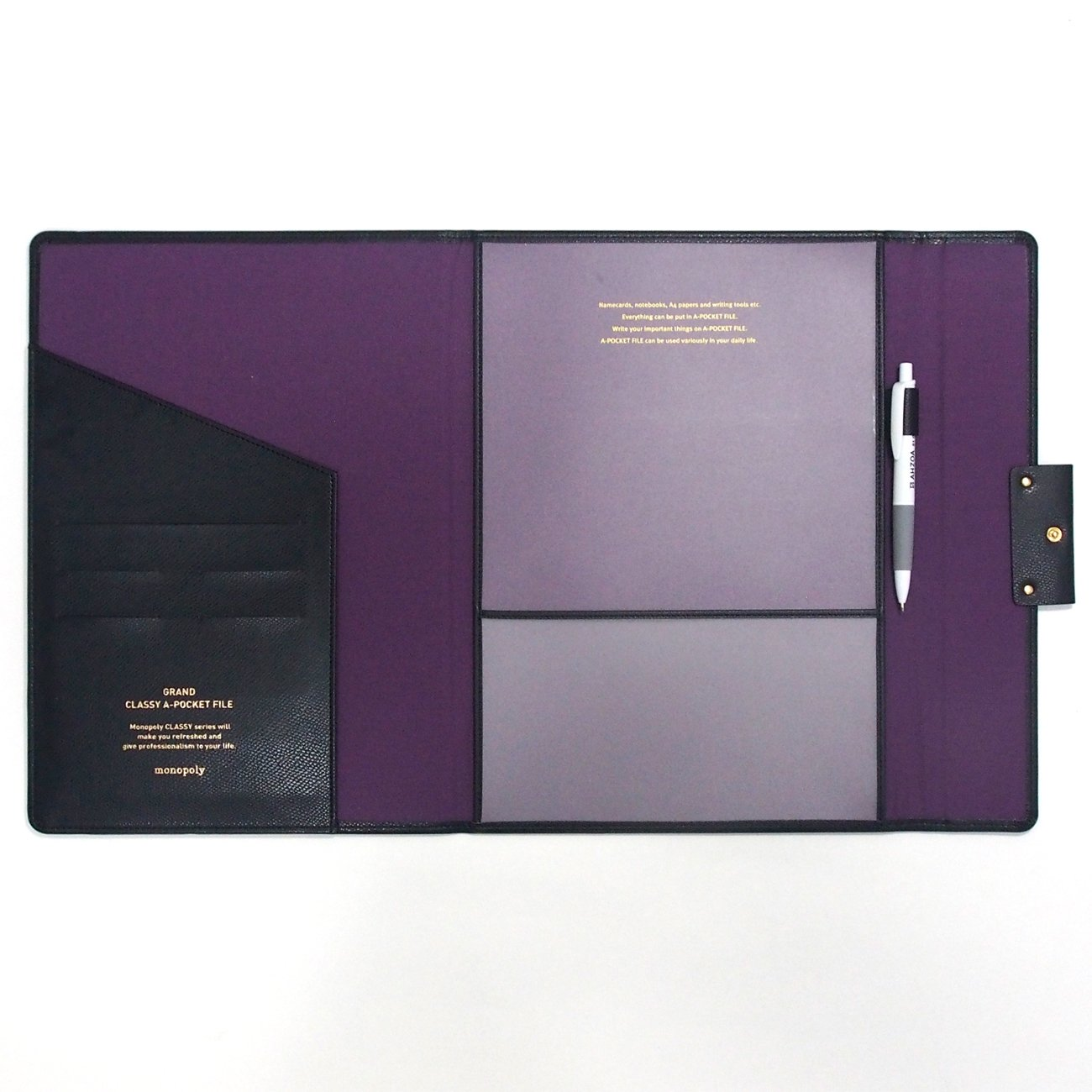 Grand Classy 8 Pockets File Holder with AHZOA Pencil (black) by Monopoly (Image #3)