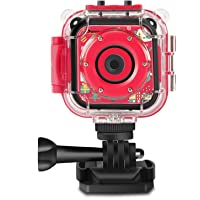 Drograce Kids Camera Underwater Waterproof Camera Camcorder for Boys Girls 4X Digital Zoom 3-Level Volume Adjustment(Red)
