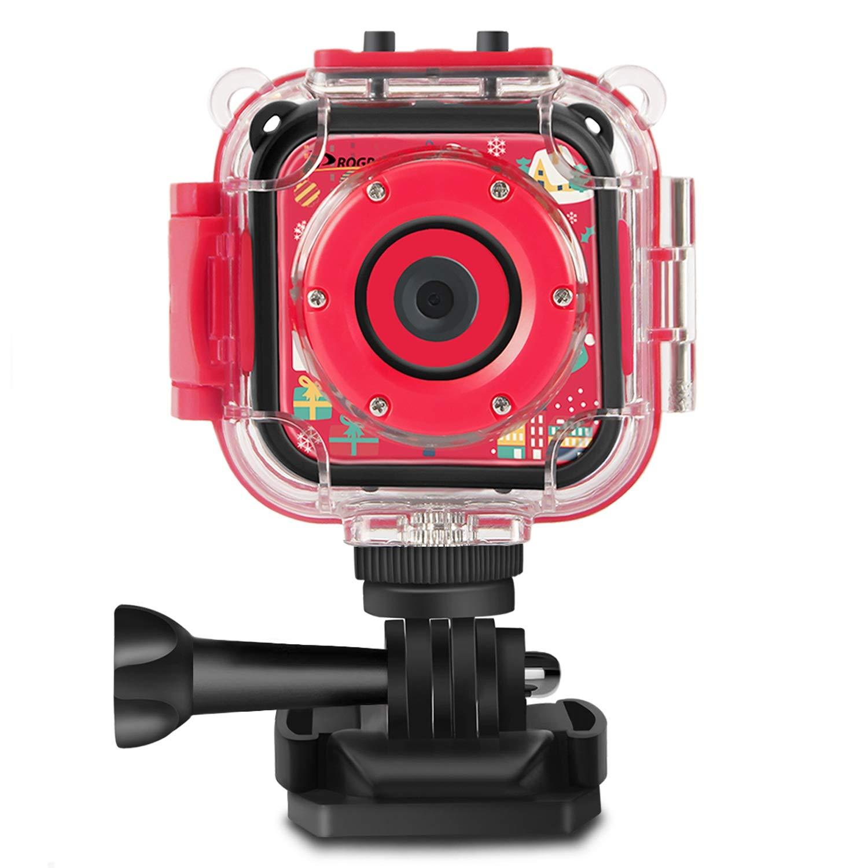 Prograce Kids Camera Underwater Waterproof Camera Camcorder for Boys Girls 4X Digital Zoom 3-Level Volume Adjustment(Red) by Prograce (Image #1)