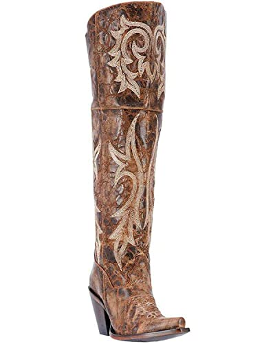 cfbe89888a3 Dan Post Fashion Boots Womens Jilted 20 quot  Leather 6 M Brown DP3709