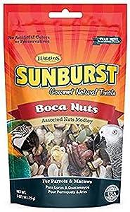 Higgins Sunburst Gourmet Natural Bird Treat, 5 Ounces, Shelled Boca Nuts for Parrots and Macaws