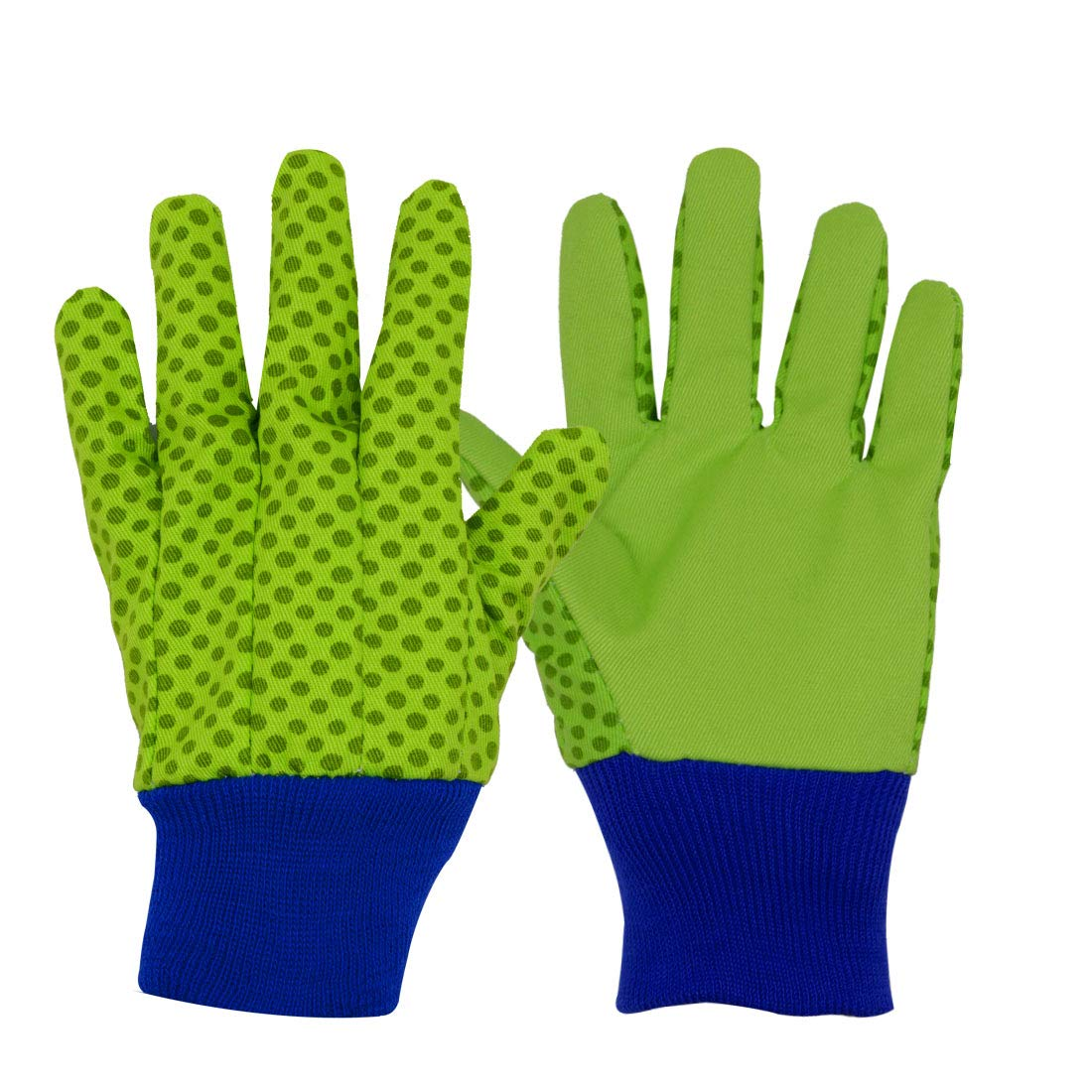 3 Pairs Soft & Comfortable Design for Kids Gardening Gloves,Yard Garden Work Gloves (Small, Green Dots)