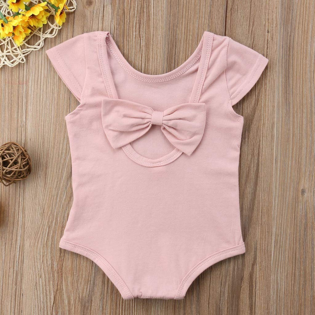 WOCACHI Toddler Baby Girls Clothes Infant Baby Girl Kid Newborn Solid Bow Romper Bodysuit Sunsuit Outfits