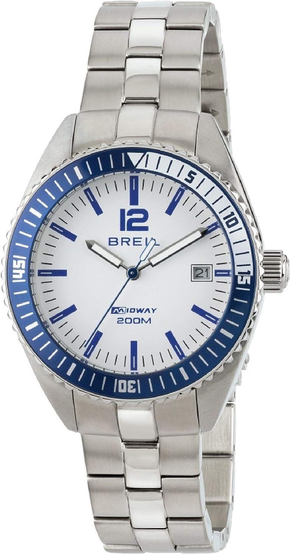 Reloj BREIL Hombre y Mujer Midway Esfera Blanco e Correa in Acero, Movimiento Solo Tiempo - 3H Cuarzo