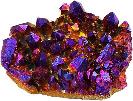 Purple Aura Flame Titanium Quartz Crystal Cluster Gemstone Mineral Specimens