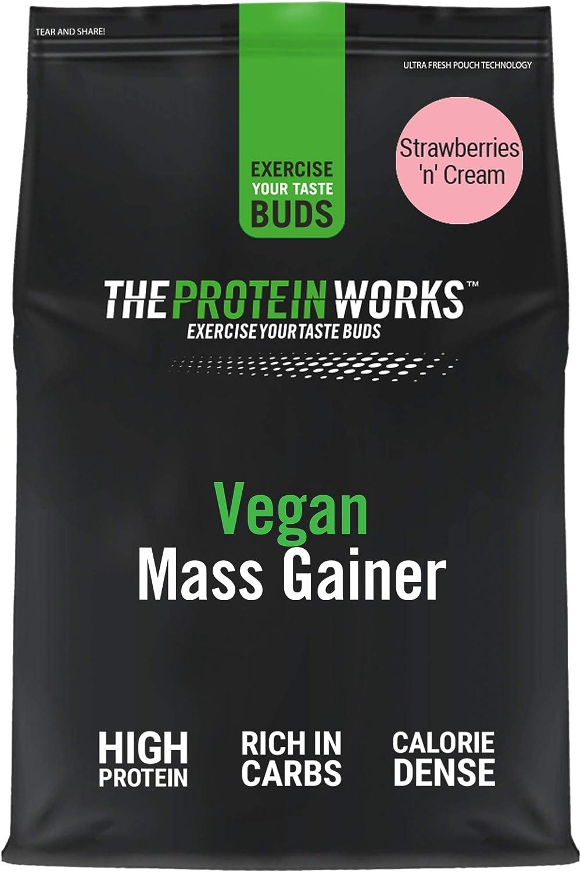 THE PROTEIN WORKS Vegan Mass Gainer   100% a Base de Plantas   Alto en Calorías Para el Aumento de Masa   Fresas con Nata   2kg