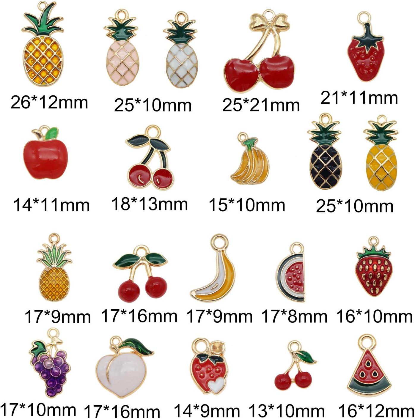 Julie Wang 40PCS Emaille Frucht Charmes Gemischte Apfel Ananas Kirsche Erdbeer Banane Wassermelone Goldton Legierung Schmuckherstellung Zubeh/ör