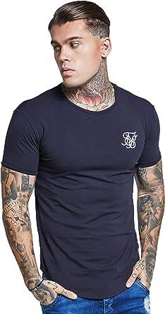 Sik Silk - Modelo SS-10891, Hombre Hem curva Logo Gimnasio de la camiseta, Negro: Amazon.es: Ropa y accesorios