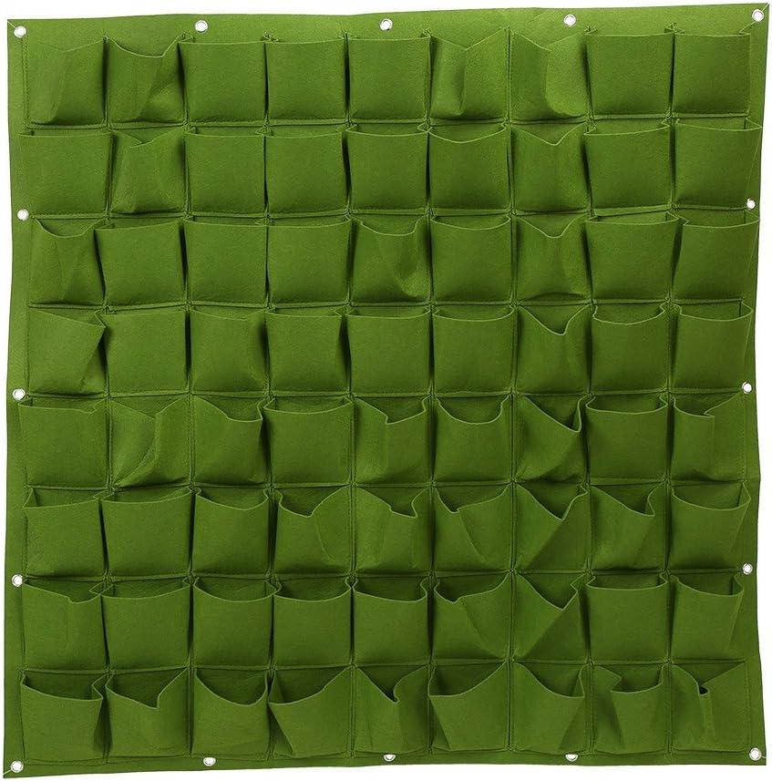 72 bolsillos bolsas de plantación colgante de pared ecológico de jardinería maceta interior y exterior para vertical bolsas de crecimiento. verde