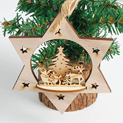 morecome snowflake wood ornament rustic christmas tree hanging decor b - Rustic Wood Christmas Tree