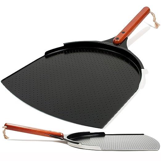 Innovadora Pala para Pizza de Aluminio. Paleta de 35cm con Cobertura de Cerámica y Mango de Madera de 25,4cm. Grande y Ligera. Espátula de Metal para ...