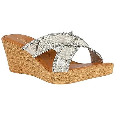 be0578188e0fa Lotus Arika Silver Snake Print Open-Toe Mule Sandals 5: Amazon.co.uk ...