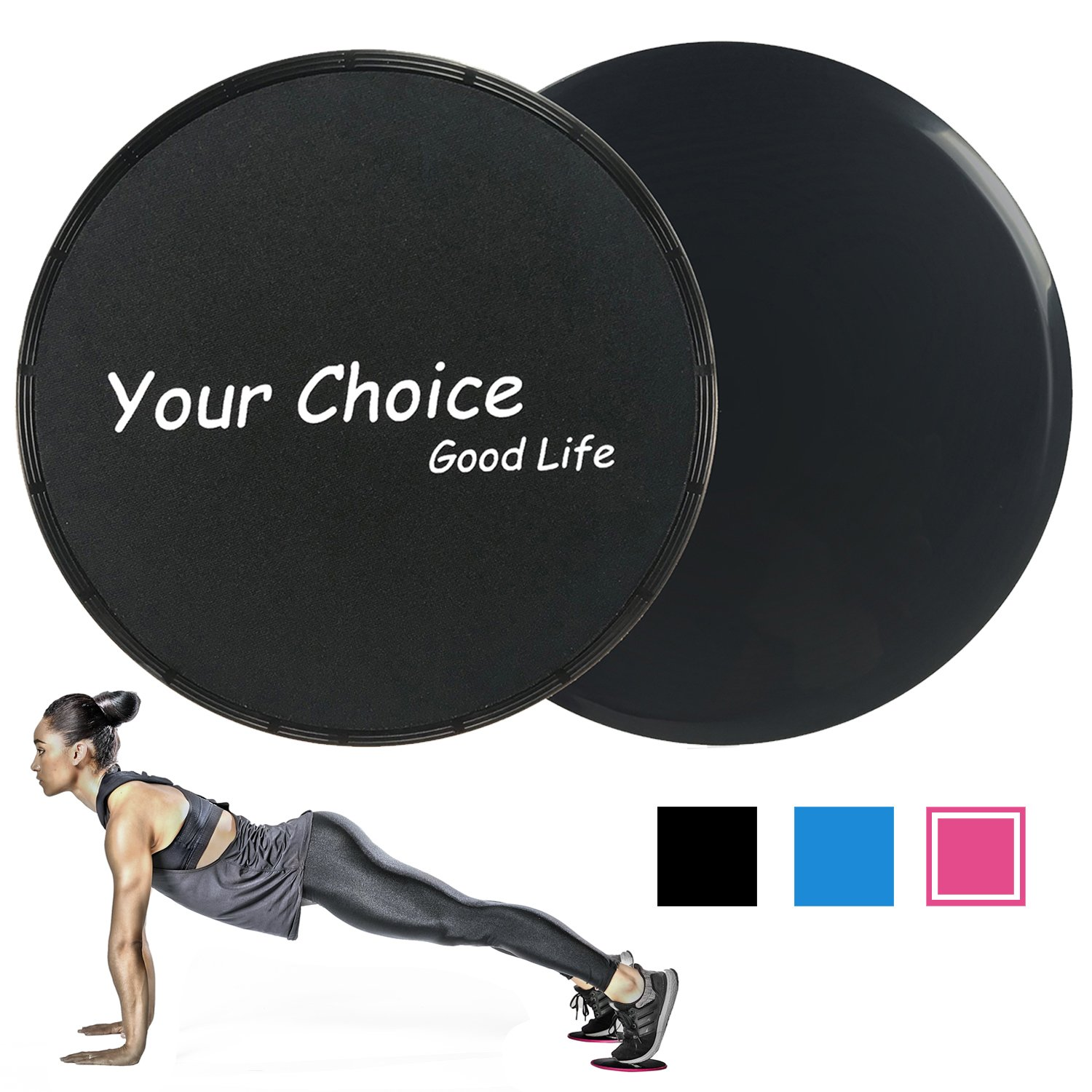 Your Choice Slider Fitbess Exercise Core Sliders Gliding Discs Abdominal Exercise Equipment, Color Black Set of 2