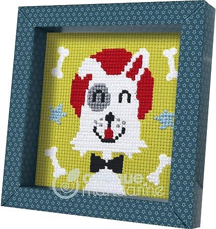 fils et aiguille Chien Avenue Mandarine KC028O Une boite Pix Gallery comprenant 1 tableau point de croix 14x14 cm