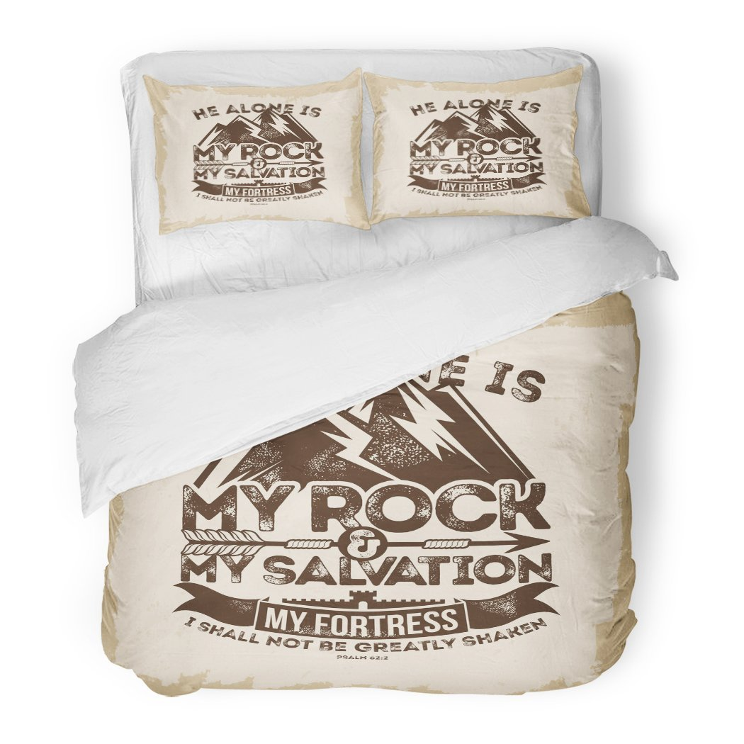 SanChic Duvet Cover Set Bible Lettering Christian He Alone is My Rock Salvation Fortress I Shall Not Be Greatly Shaken Psalm Decorative Bedding Set Pillow Sham Twin Size