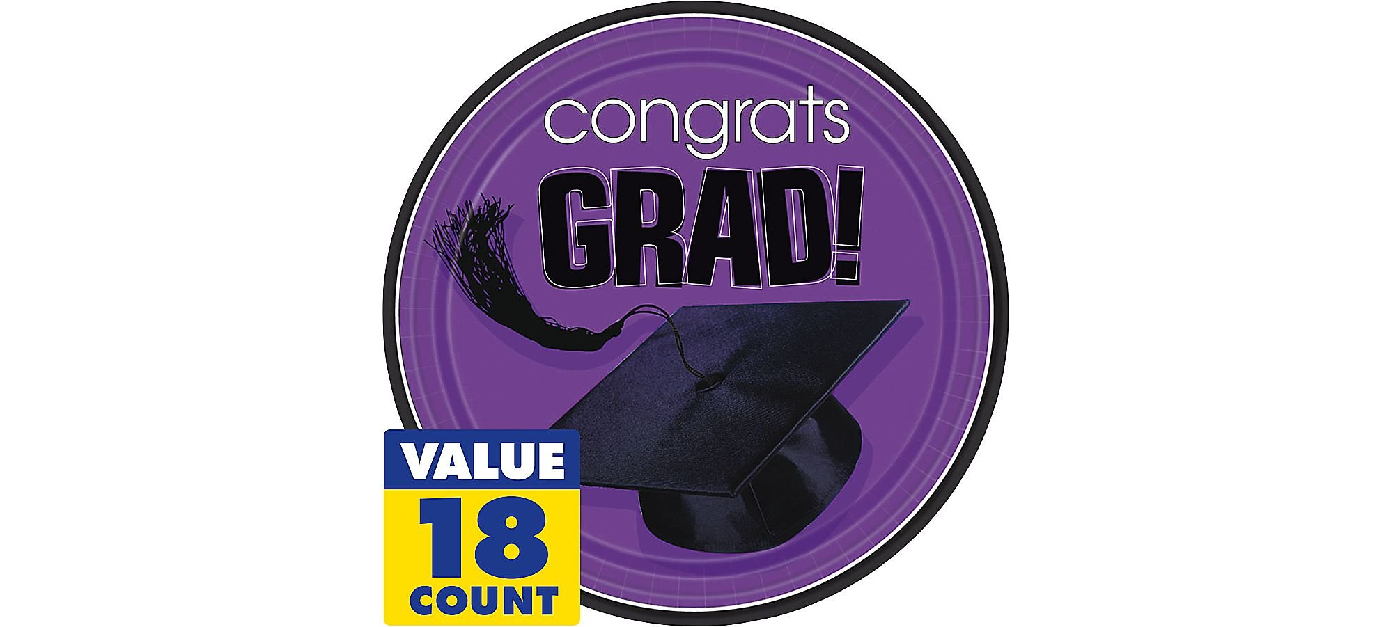 Amscan Flying Colors Graduation Party School Colors Round Plates, 9'' Purple Tableware, Purple, Paper , 9'' Pack of 18 Party Supplies