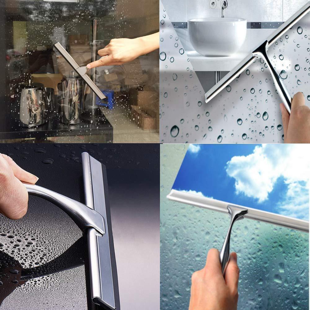 Limpieza de Cristales de Coche NOBRAND Raspador de Ventana de Acero Inoxidable con Ventosa y Gancho de Ventosa para Espejo de ba/ño