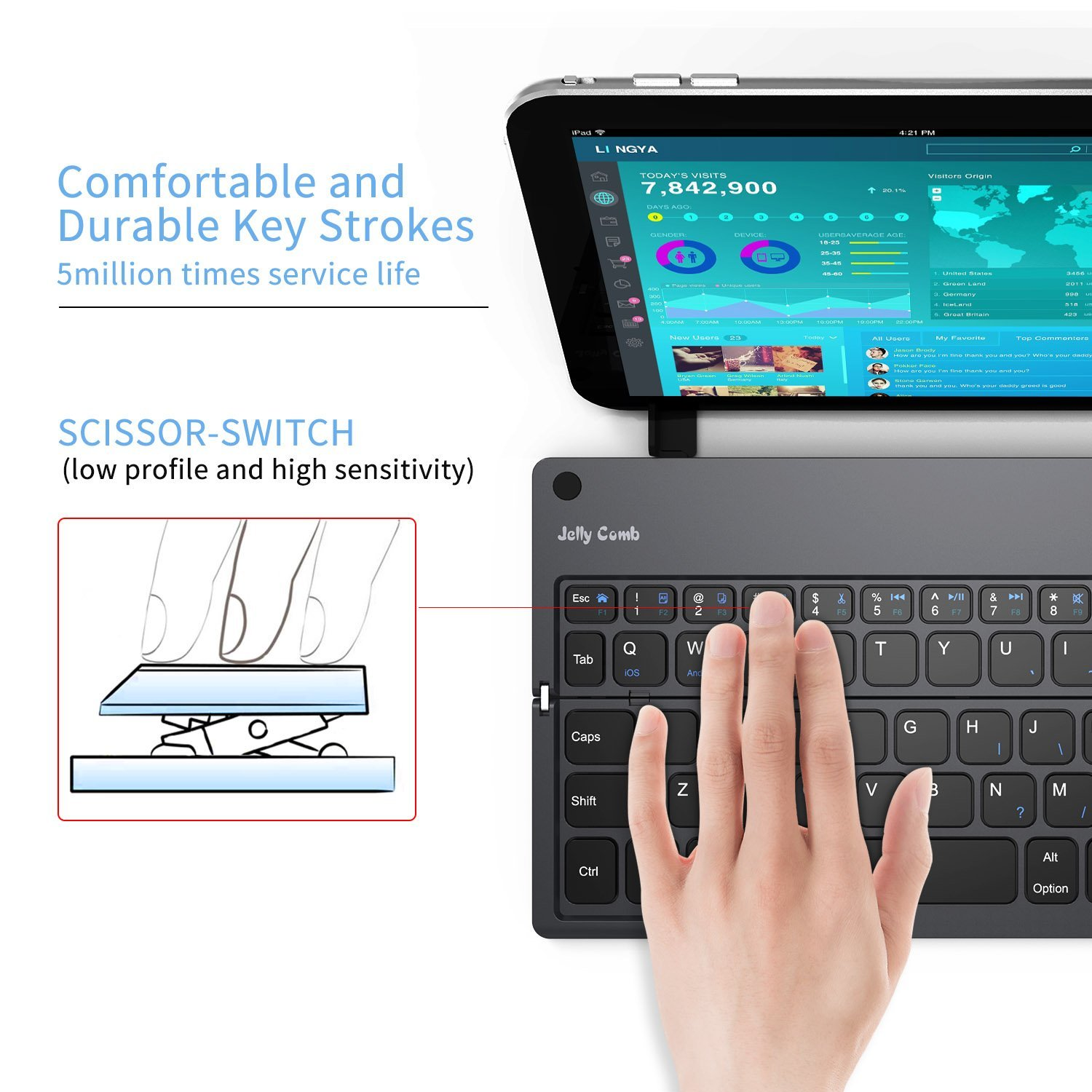 Foldable Bluetooth Keyboard, Jelly Comb B028 Portable Folding Rechargeable Bluetooth Keyboard with Built-in Stand for Android iOS Tablet Smartphone Windows and More-(Dark Grey) by Jelly Comb (Image #3)