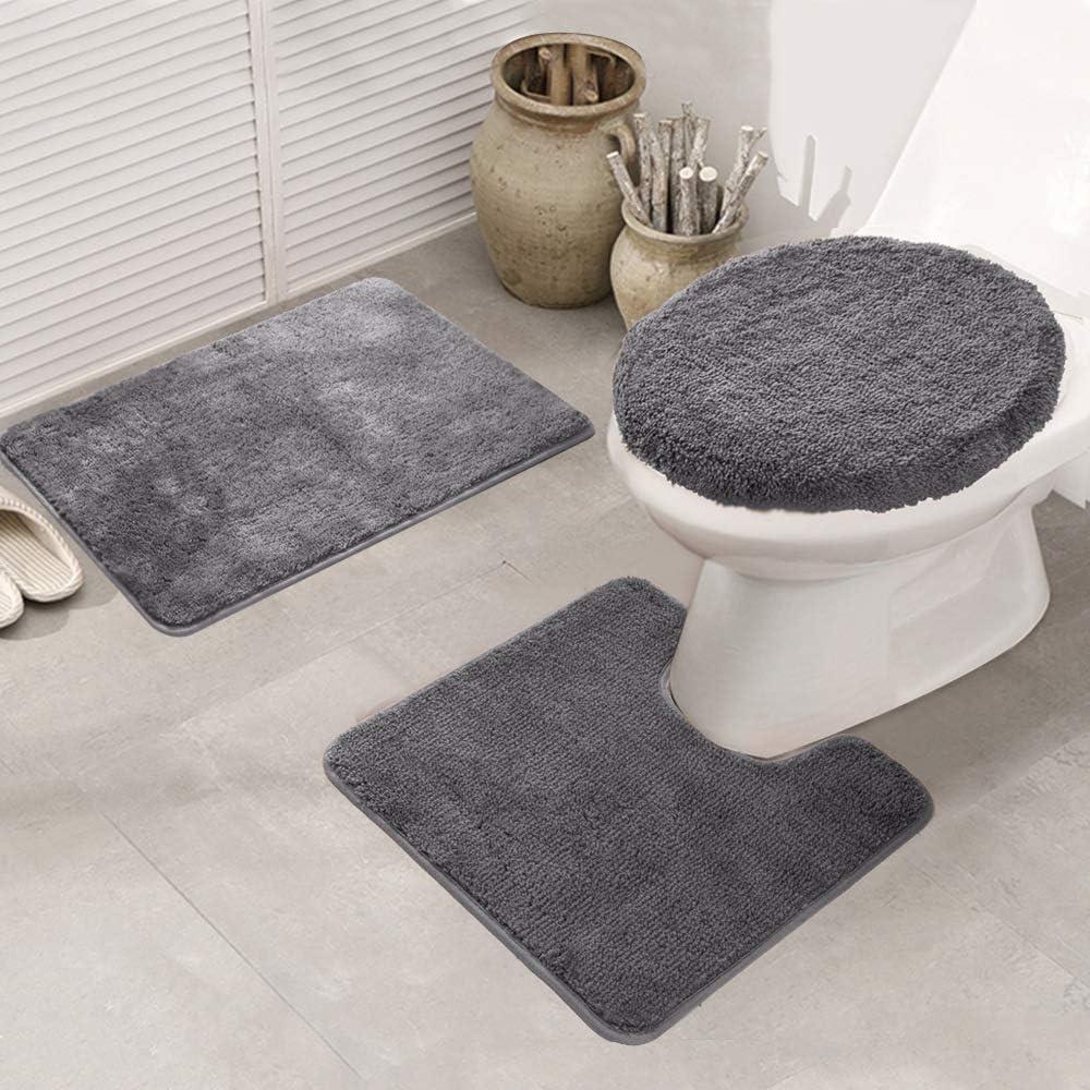 Grey 3 Piece Ultra Soft Ultimate Microfiber Bath Rug Set.