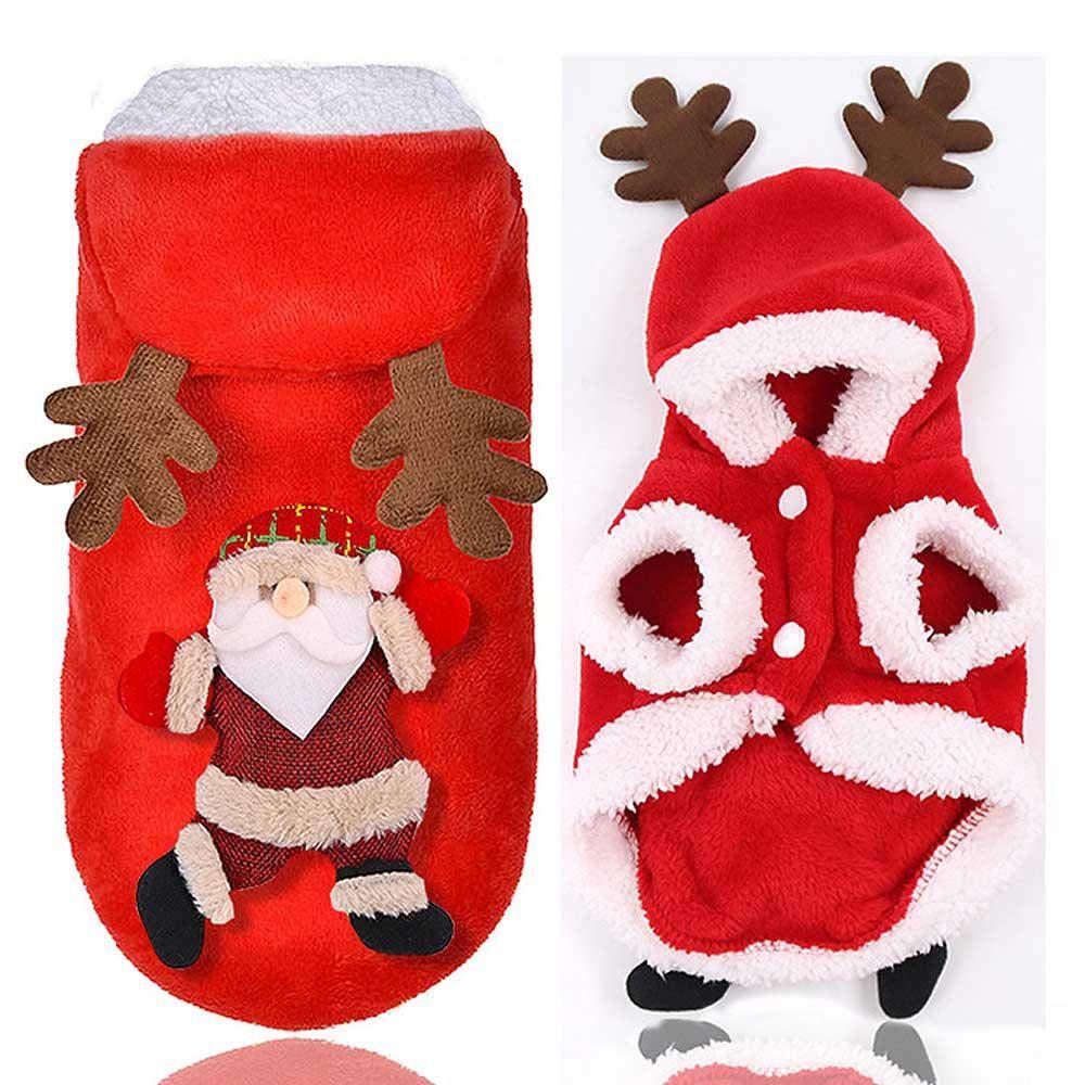 AUOKER Weihnachts-Kost/üm f/ür Hunde und Katzen Weihnachts-Kost/üm mit Kapuze Baumwolle bequem