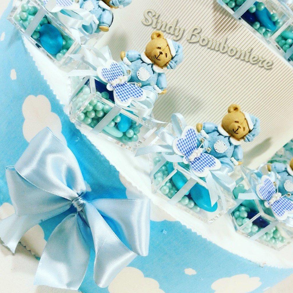 Idee Gastgeschenk für Geburt Taufe Plexiglas verziert mit Bär Schmetterling blau für Kinder Torta Da 20 Plexiglass Bomboniera + Centrale Bomboniera Singola Aggiunta Fuori Struttura