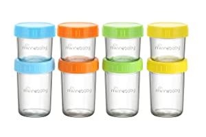 Baby Food Storage Containers, QOOC 8 Set BPA-Free Stackable Glass Baby Food Jars with Lids, Airtight Reusable Glass Baby Food Containers, Freezer/Microwave/Dishwasher Friendly, 4&8 oz, Multicolors