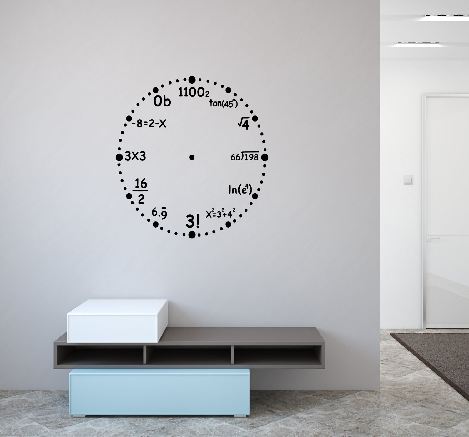 23 W X 23 H Black The Vinyl Design Company Math Wall Clock Vinyl Wall Decal Math Equation for each number