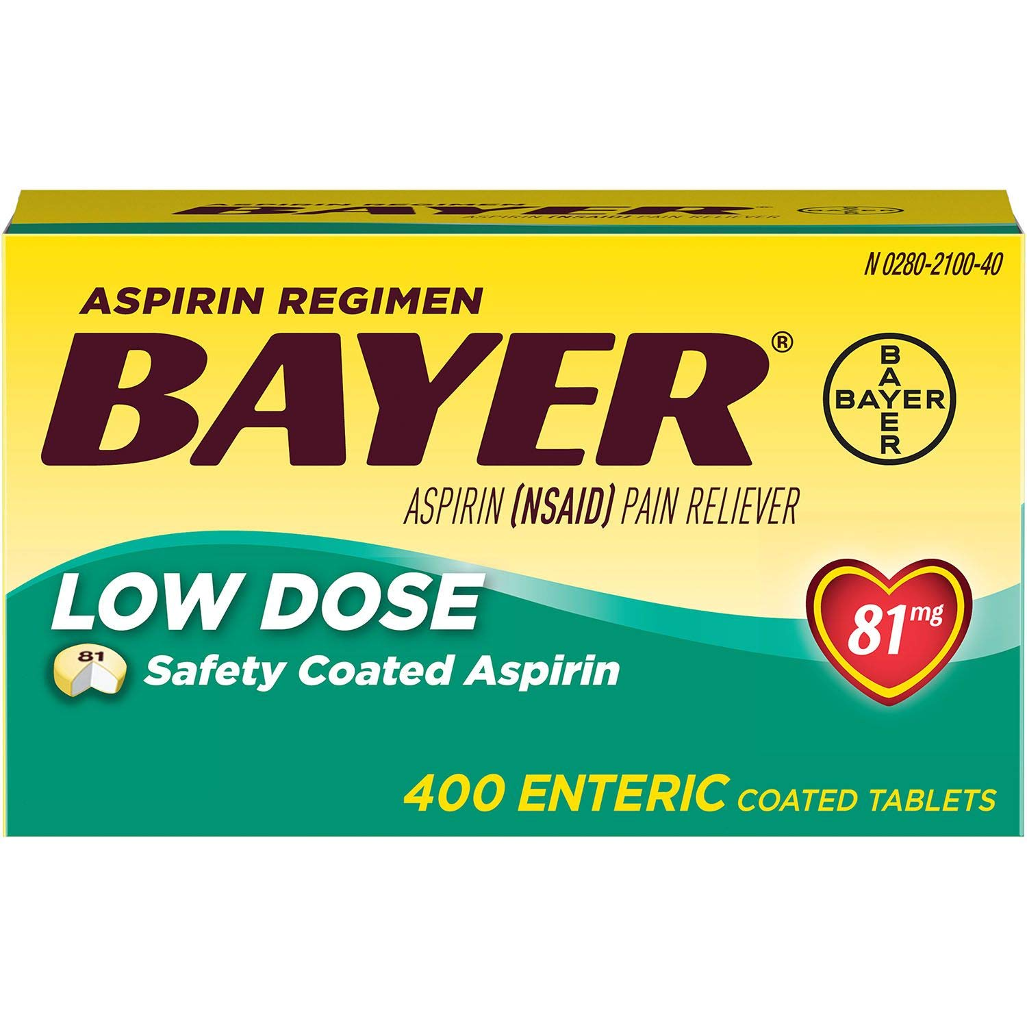 Bayer Low Dose Safety Coated Aspirin 81 mg, Pack of 1, 400 Count by Bayer