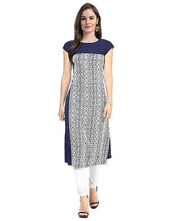 9cf945c4991 Janasya Indian Tunic Tops Crepe Kurti for Women (JNE0996-NAVY-KR-001