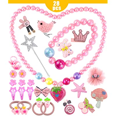 Wpxmer 28 Pieces Little Girls Jewelry Sets, Beaded Necklace and Beads Bracelet for Kids, Girls Jewelry Dress Up Play Set with Necklaces, Earrings, Rings, Wands, Bracelets and Hairpin: Toys & Games