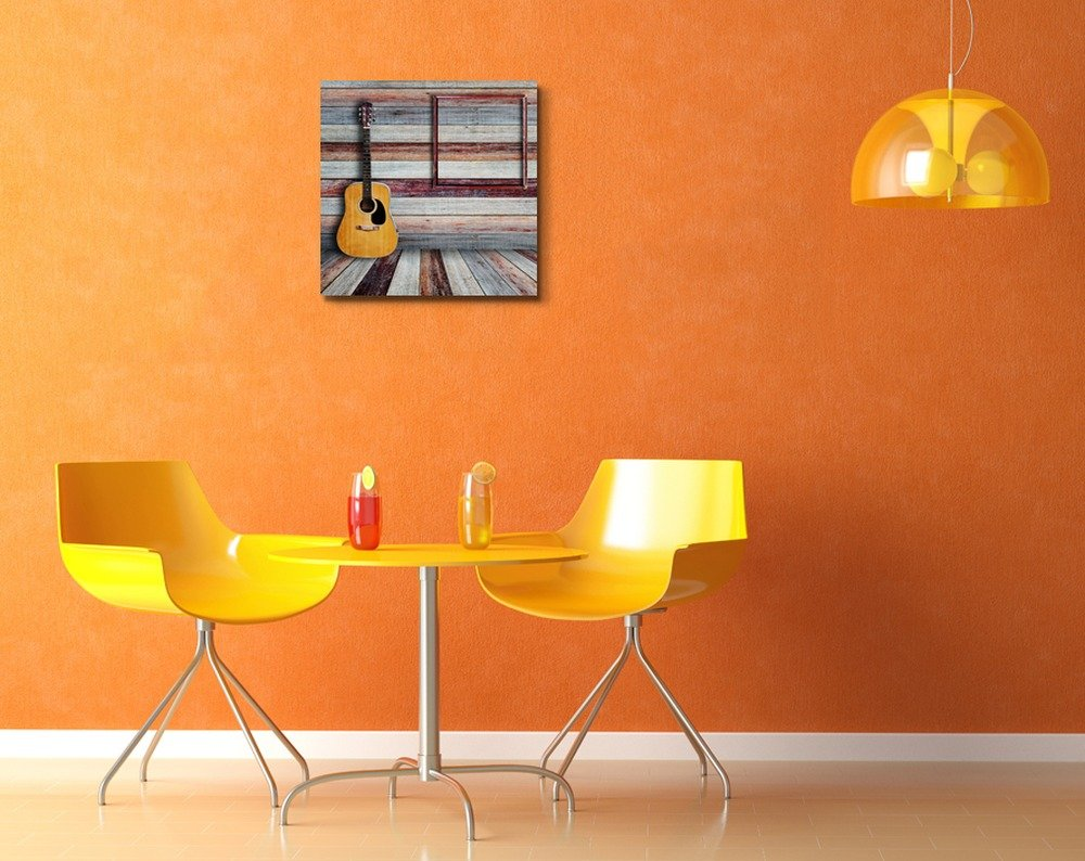 Canvas Prints Wall Art 24 x 24 CVS-RF-1610-24x24x1.50 Guitar and Picture Frame in Vintage Wood Room