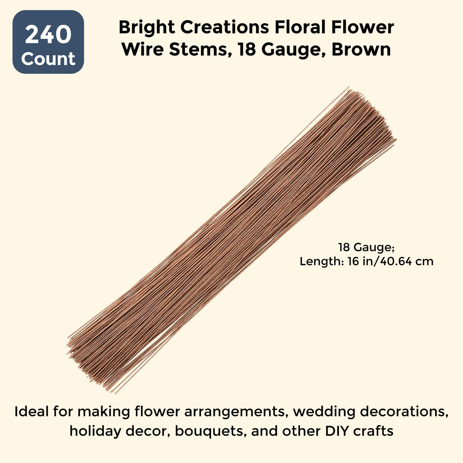 24 Gauge Bright Creations Floral Flower Wire Stems 1100 Count 16 Inch Brown