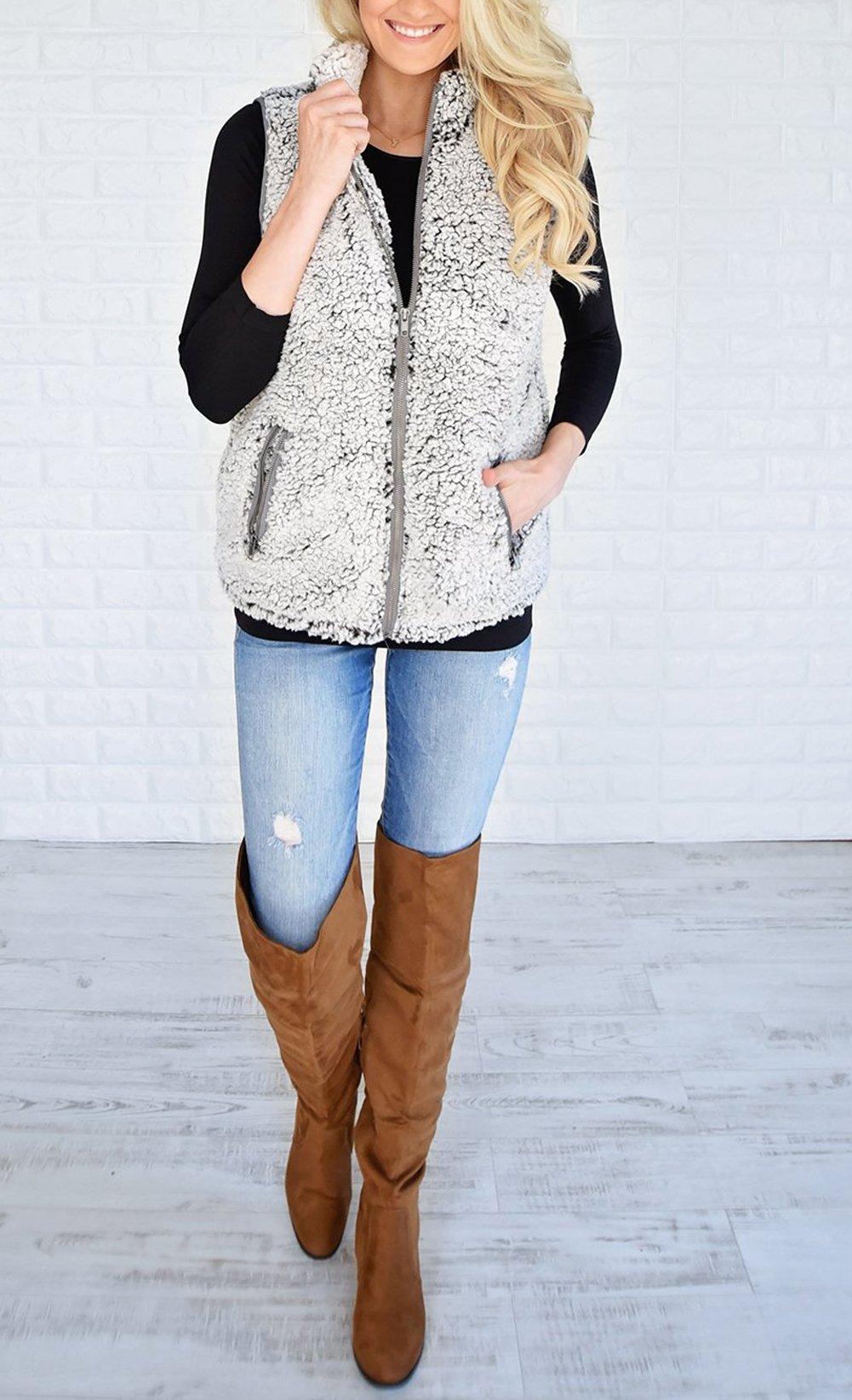 MEROKEETY Women's Casual Sherpa Fleece Lightweight Fall Warm Zipper Vest Pockets by MEROKEETY (Image #3)