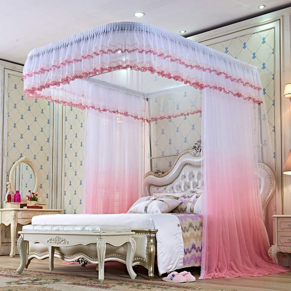 KE & LE Luxury Mosquito Tent Tent Mesh Canopy Curtains with Bottom, 4 Corners Mosquito Net Princess Style Bedroom Decoration Hanging Mosquito Net Adults Girls-b W:180cmxh:250cmxd:220cm by KE & LE (Image #1)
