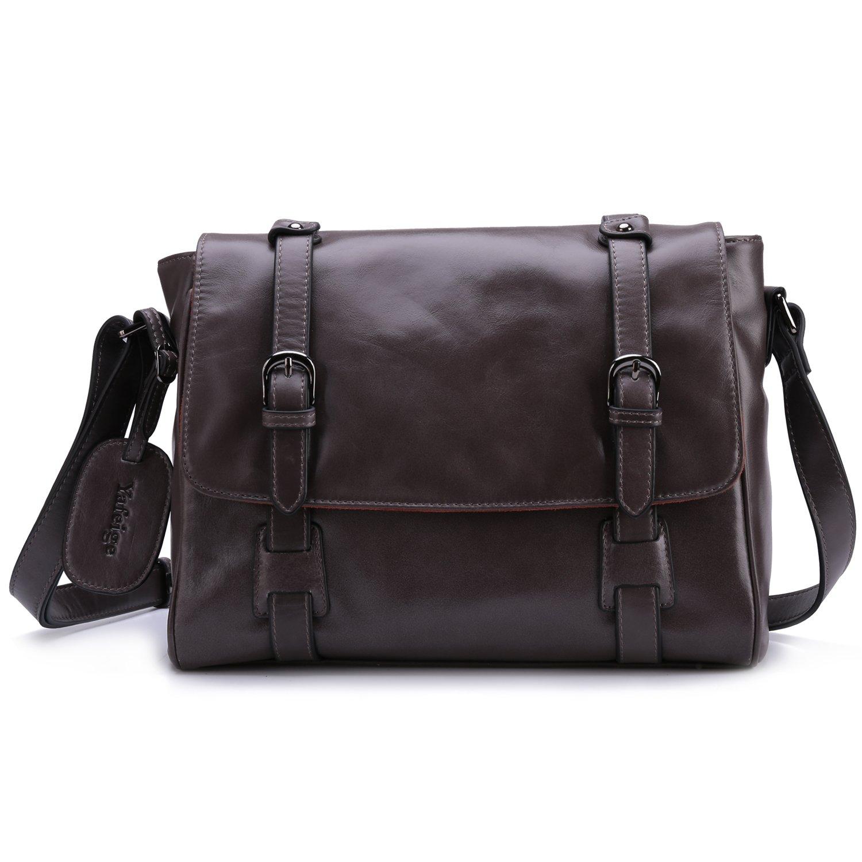 Yafeige Small Vintage Satchel Leather Handbags Traveling Purse Messenger Shoulder Crossbody Bag for Women(Gray)