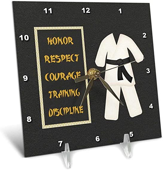 3dRose dc_180798_1 Karate Karategi Uniform Black Belt Honor Respect Courage Train Discipline-Desk Clock, 6 by 6-Inch