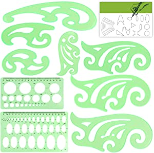 Templates Measuring Geometry Ruler Shape Stencils Drawing Set Plastic Geometric Drawing Painting Stencils Scale Drafting Tools for School and Office, Building Formwork, Drawings Drafting