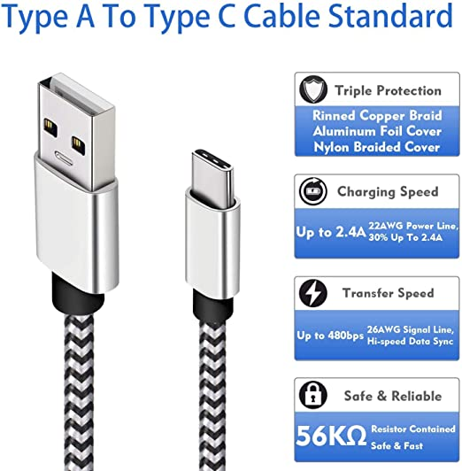 Amazon.com: USB tipo C Cable De Carga Para LG V30, [10 ft ...