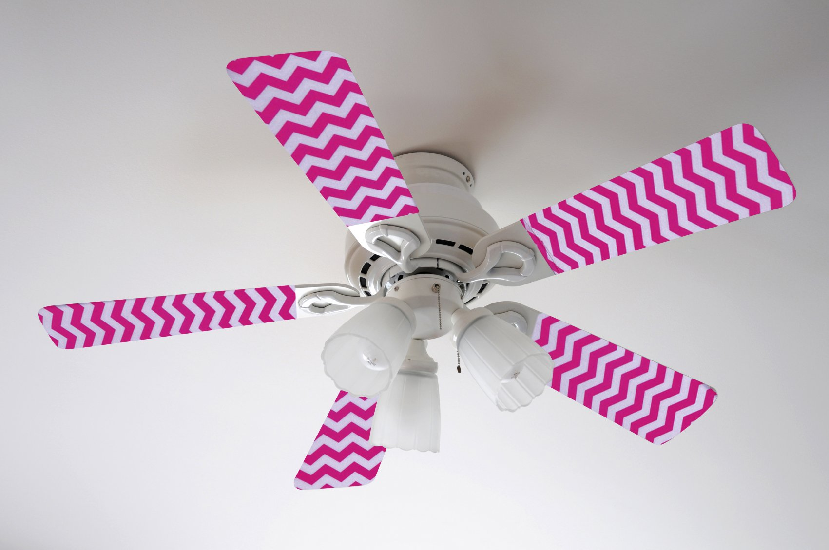 Fancy Blade Ceiling Fan Accessories Blade Cover Decoration, Pink Chevron Small