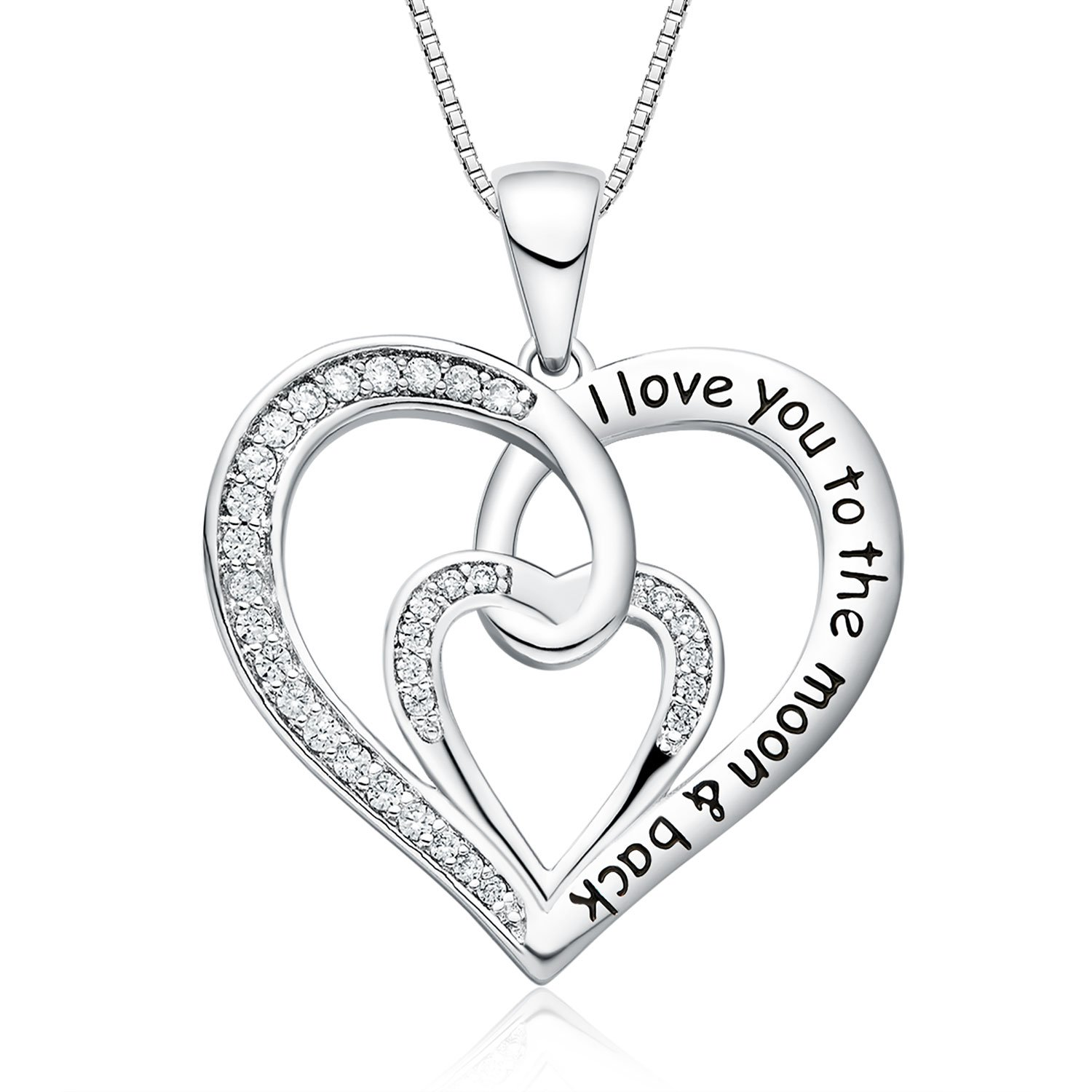 FANCYCD I Love You to the Moon and Back Love Heart Necklace, 18'', Jewelry for Women & Girls, Special Gifts for Girlfriend, Wife, Sister, Aunt, Grandma, Mom by FANCYCD (Image #1)
