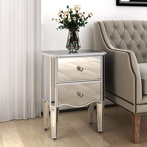 Mirrored End Table with 2 Drawers, Night Stand Bedside Table Side Table for Bedroom, Hallway, Living Room, Entryway, Office