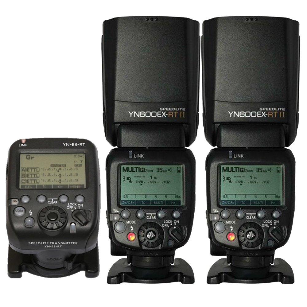 YONGNUO 2 Pack YN600EX-RT II Auto TTL HSS Flash Speedlite and YN-E3-RT Controller for Canon 5D3 5D2 7D Mark II 6D 70D 60D 650D