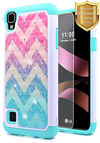 LG Tribute HD Case, LG X Style Case with Free [Tempered Glass Screen Protector], NageBee [Hybrid Protective] [Studded Rhinestone Bling] Diamond Case ...